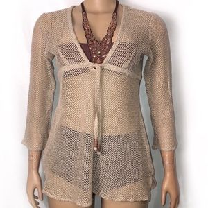 St John's Bay Swim Coverup Crochet Tan size medium